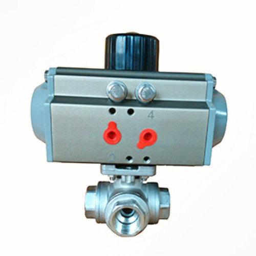 Pneumatic threaded three-way ball valve