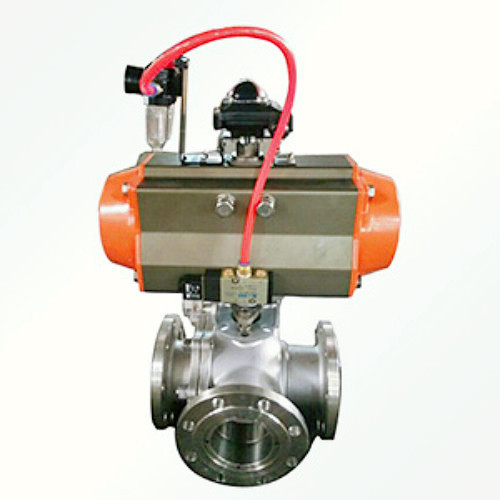 pneumatic flanged three-way ball valve