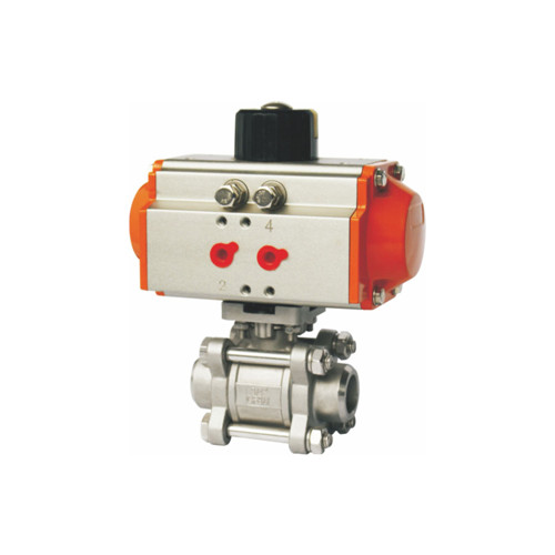 Pneumatic welding end ball valve